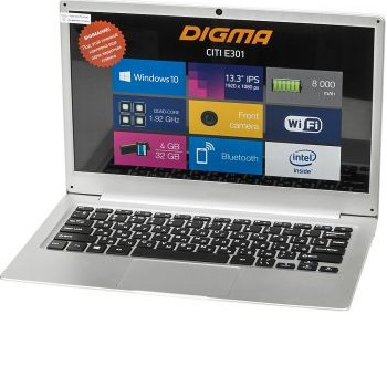 "Digma CITI E301 (ES3008EW)( Atom X5 Z8350, 4Gb, SSD32Gb, Intel HD Graphics 400, 13.3"", IPS, HD (1920x1080), Windows 10 Home Multi Language 64, silver, WiFi, BT, Cam, 8000mAh)"